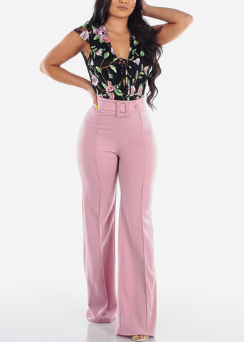 Image of Women's Junior Ladies Sexy Stylish Elegant Night Out Party Clubwear High Waisted Wide Legged Mauve Dressy Pants