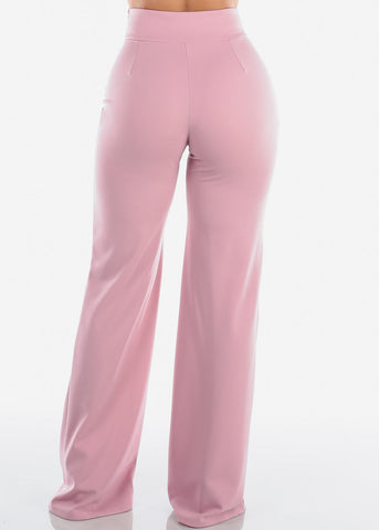 Elegant High Rise Mauve Pants