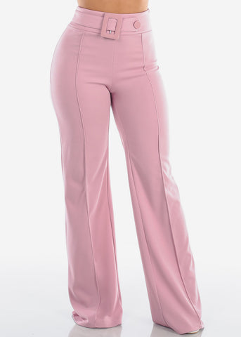 Women's Junior Ladies Sexy Stylish Elegant Night Out Party Clubwear High Waisted Wide Legged Mauve Dressy Pants