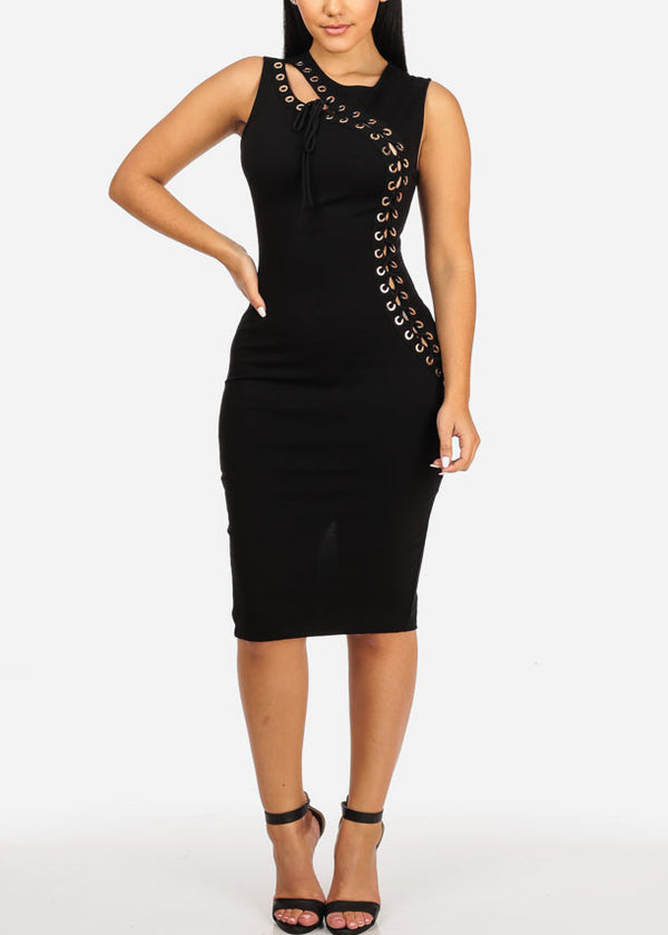 Black Lace Up  Midi Dress