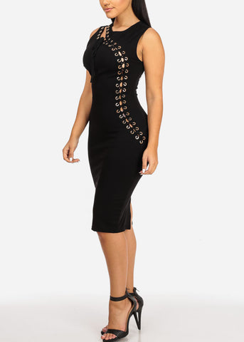 Image of Black Lace Up  Midi Dress