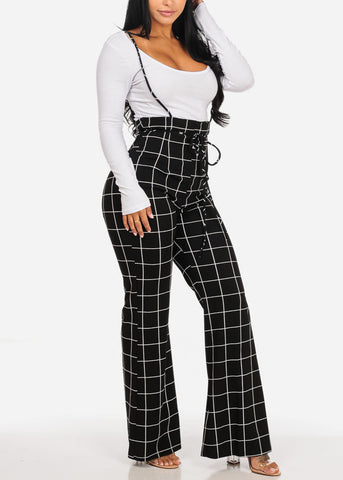 Sexy Black Plaid Print  Overall
