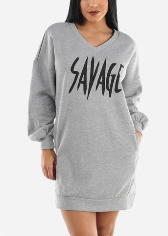 "Image of ""Savage"" Grey Tunic Dress"