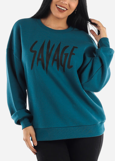 """Savage"" Teal Sweater"
