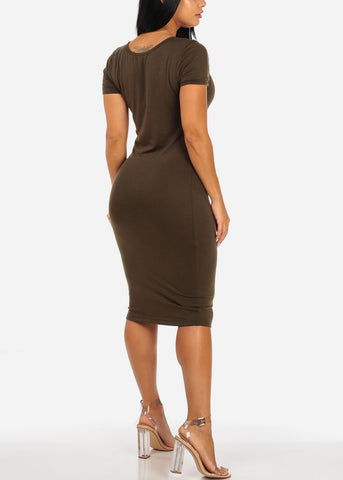 Image of Casual Stretchy Olive Bodycon Dress