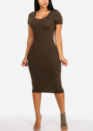 Casual Stretchy Olive Bodycon Dress