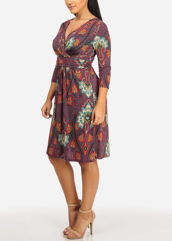 Image of Multicolor Floral Midi Dress