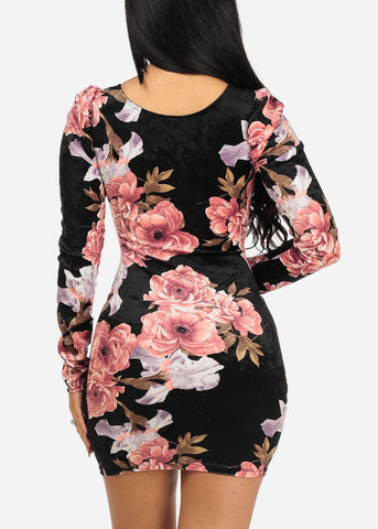 Image of Black Velvet Floral Bodycon Dress
