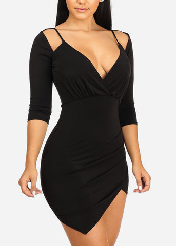 Image of Black Ruched Side slit Bodycon Dress