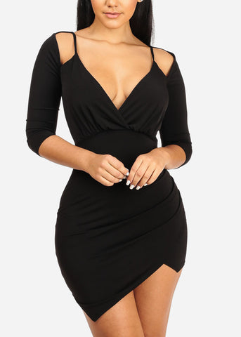 Black Ruched Side slit Bodycon Dress