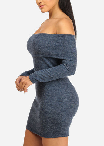 Image of Blue Off Shoulder Bodycon Dress