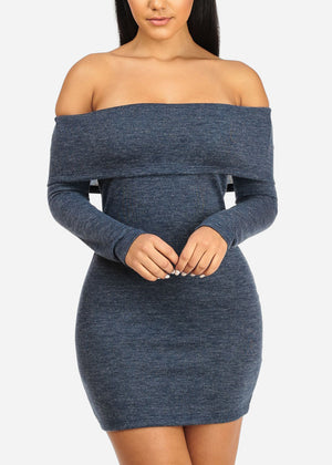 Blue Off Shoulder Bodycon Dress