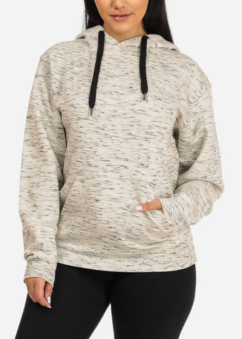 Image of Cozy Oatmeal Heather Sweater W Hoodie