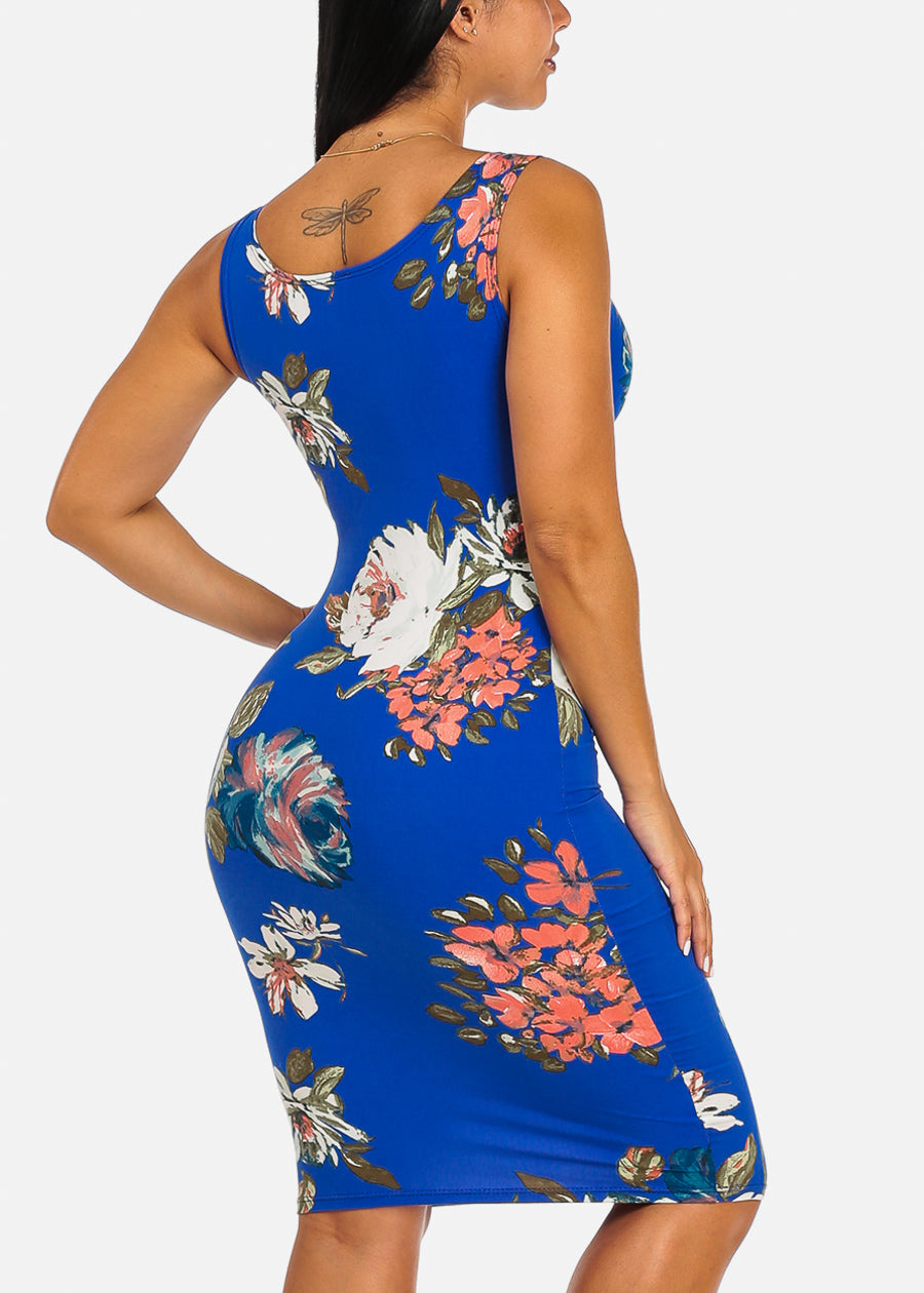 a437977e4 Floral Print Clubwear Slim Fit Knee Length Blue Bodycon Dress. Double tap  to zoom