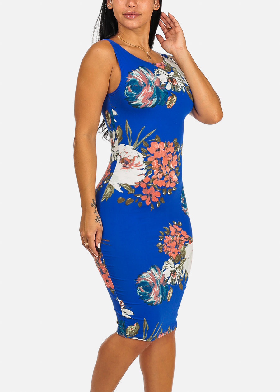 Floral Print Clubwear Slim Fit Knee Length Blue Bodycon Dress