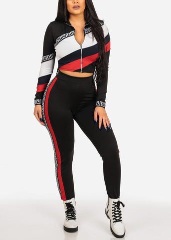 Image of Women's Junior Ladies Going Out Casual Day Gym Work Out Exercise Long Sleeve High Neck Crop Top And High Waisted Color Block Multi Color Pants SET
