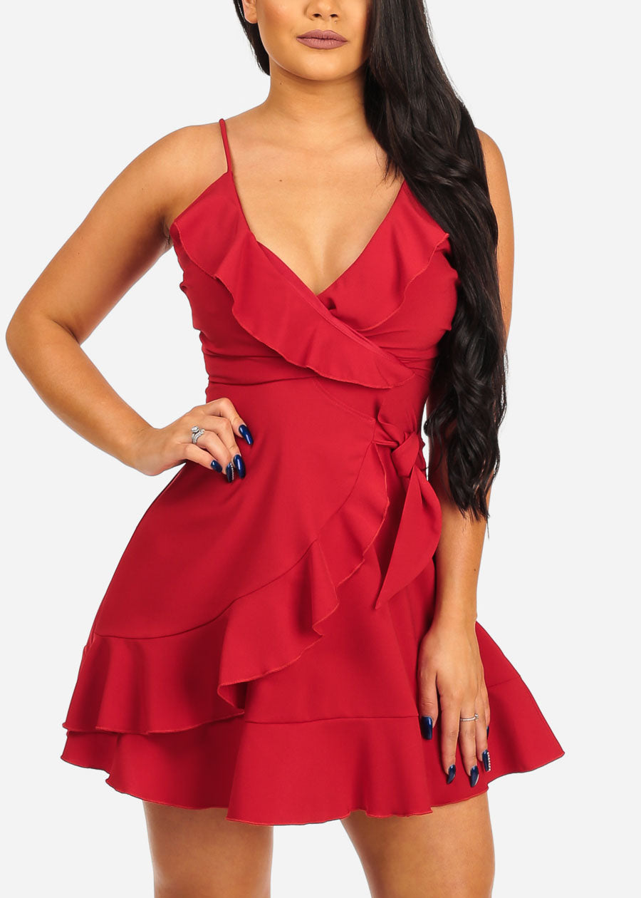 cf8a558876a Women's Junior Sexy Going Out Night Out Club Wear Sexy Salsa Night  Spaghetti Strap Solid Red Ruffle Detail Dress