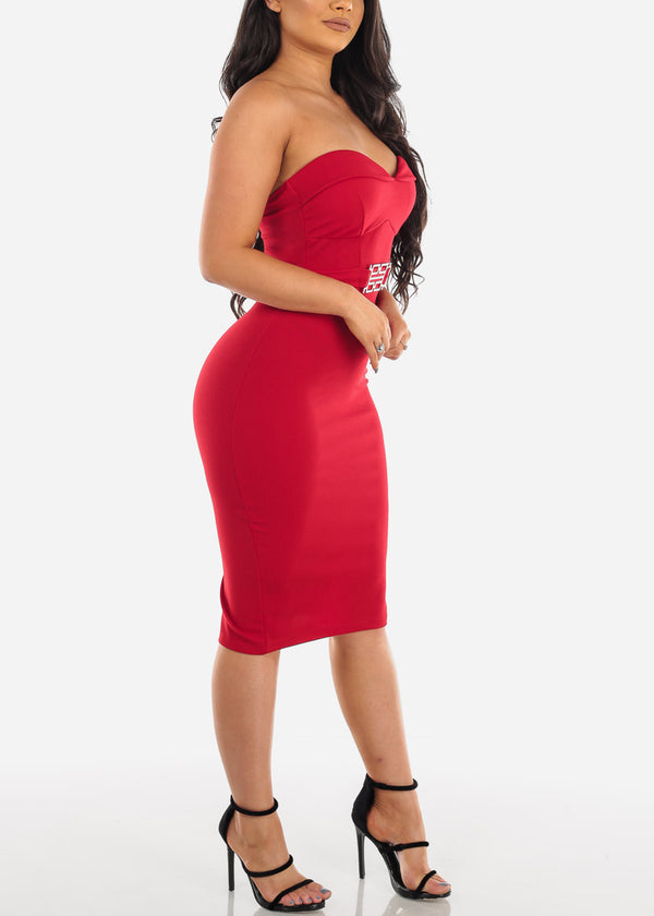Sexy Strapless Red Dress