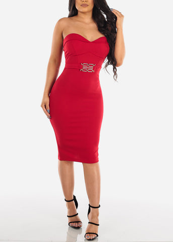 Image of Women's Junior Ladies Sexy Night Out Cocktail Little Black Strapless Sweetheart Neckline Tight fitting Red Midi Dress With Belt