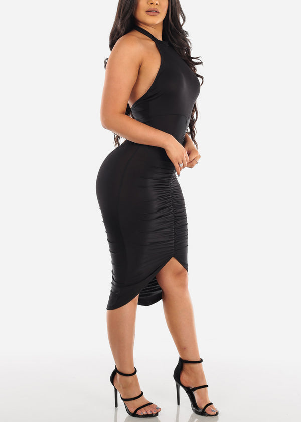 Sexy Ruched Black Dress