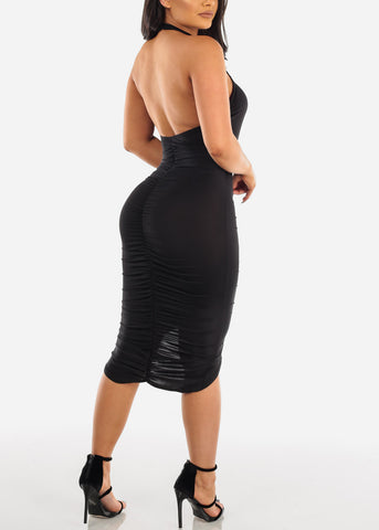 Image of Sexy Party Night Out Clubwear Party Summer Backless Halter 2019 Open Back Strapless Ruched Little Black Bodycon Midi Dress