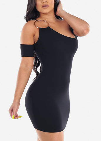 Image of Sexy Night Out Clubwear For Party 2019 Hot New Mini Bodycon Super Stretchy One Cold Shoulder Sleeve Little Black Dress