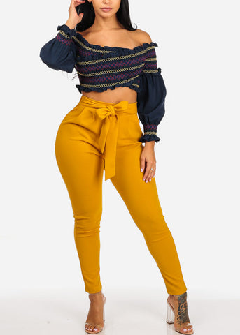 Image of High Waisted Skinny Leg Mustard Pants