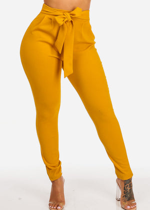 High Waisted Skinny Leg Mustard Pants