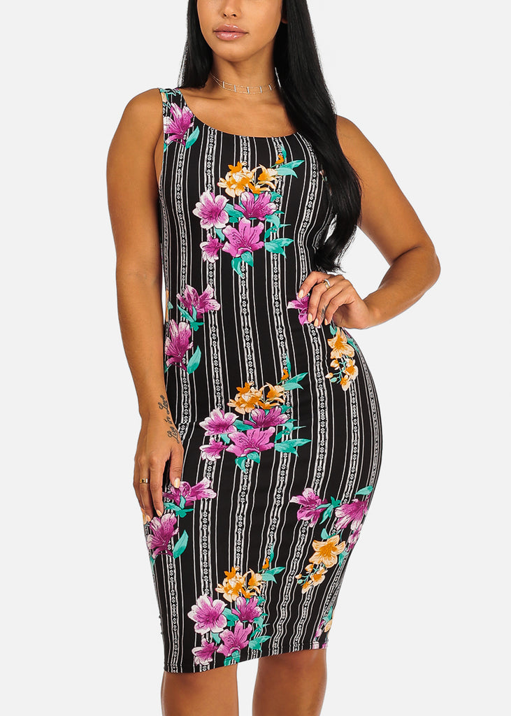 Black Floral And Stripe Print Slim Fit Knee Length Clubwear Bodycon Dress