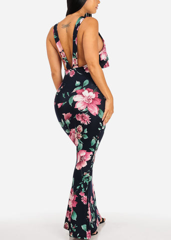 Image of Navy Floral Mermaid Maxi Dress