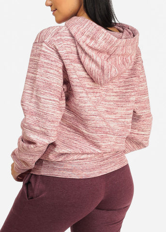 Cozy Pink Heather Sweater W Hoodie