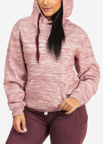 Image of Cozy Pink Heather Sweater W Hoodie