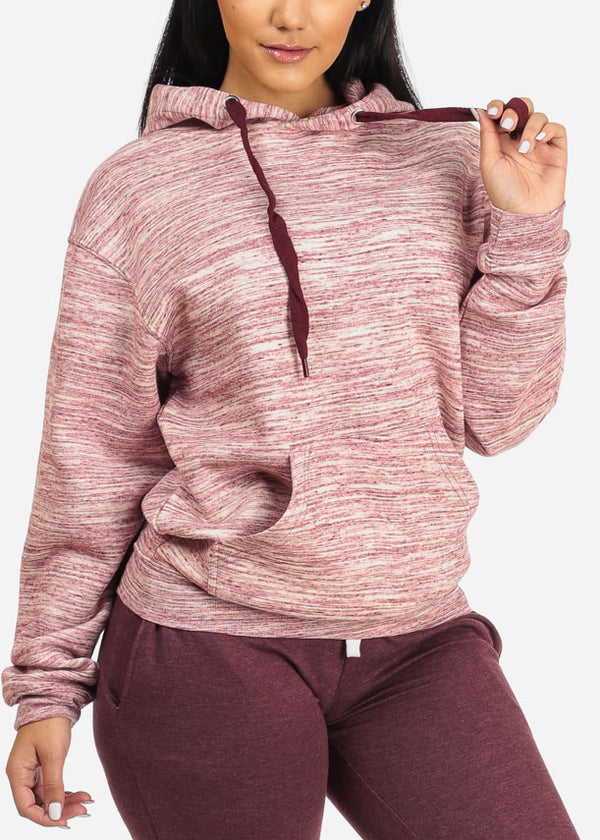 Pink Heather Sweater W Hoodie