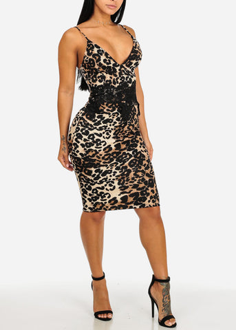 Spaghetti Strap Cheetah Print Midi Dress