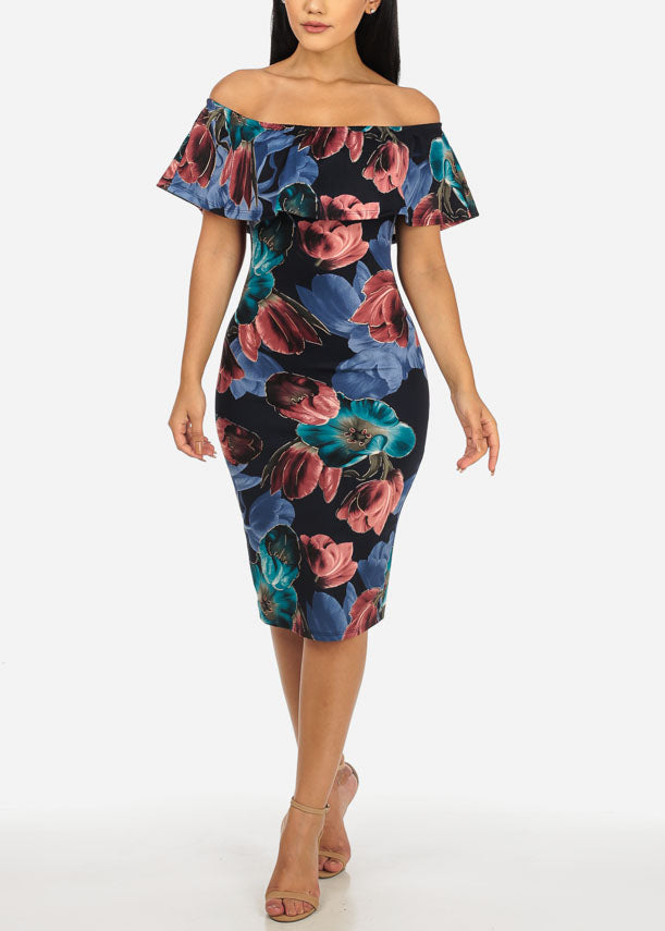 5ddaf49c05f8 Navy Off-Shoulder Floral Dress