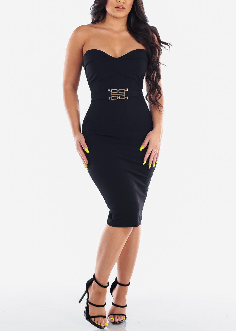 7e950a2a0200 Women's Junior Ladies Sexy Night Out Cocktail Little Black Strapless  Sweetheart Neckline Tight fitting Black Midi Dress ...