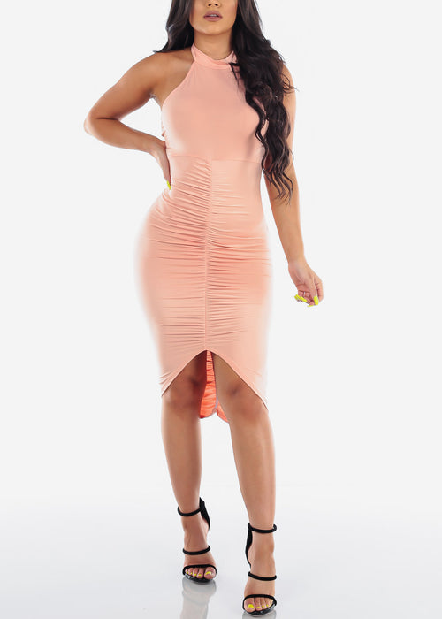 Sexy Ruched Peach Dress