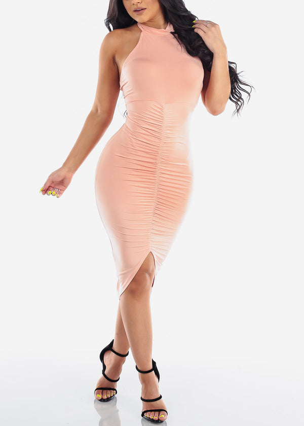 Sexy Party Night Out Clubwear Party Summer Backless Halter 2019 Open Back Strapless Ruched Peach Bodycon Midi Dress
