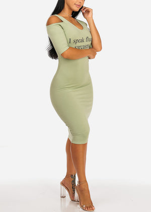 Green Graphic Sarcasm Midi Dress