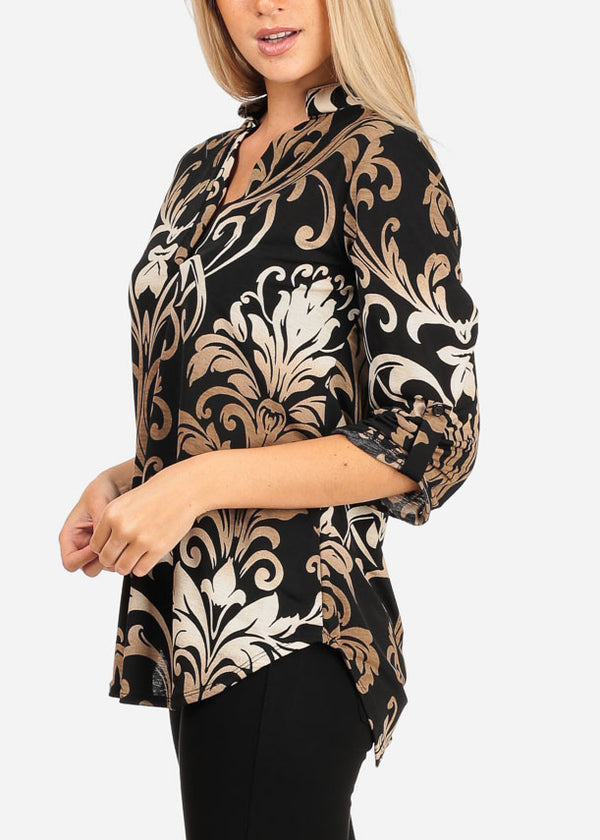 Floral Print Black Blouse