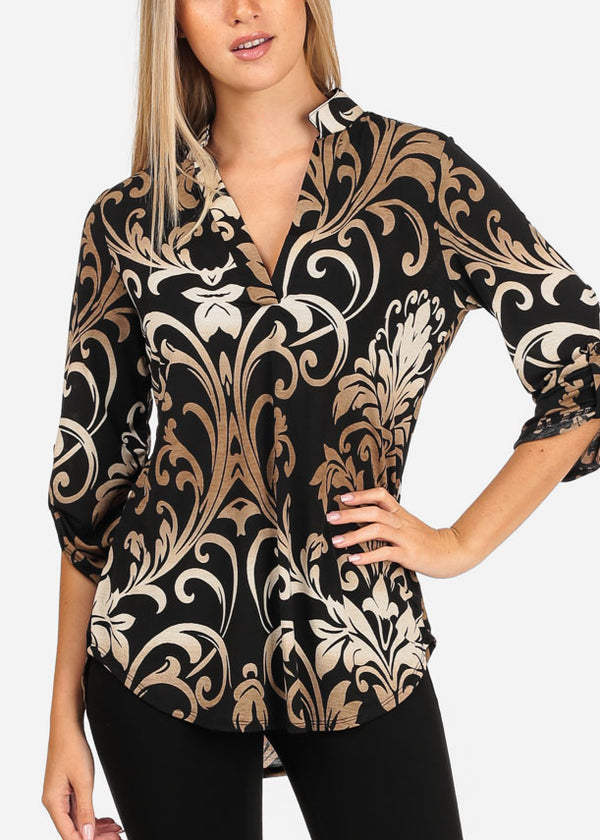Women's Junior Stylish Going Out Dressy Super Stretchy 3/4 Sleeve Floral Print Black Blouse