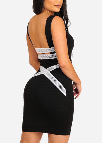 Women's Junior Sexy Night Out Club Wear Solid Black Bandage Style With back Crossover Design Bodycon Black Dress