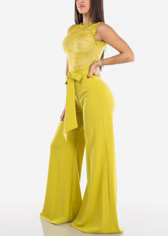 Image of Yellow Crochet Lace Jumpsuit