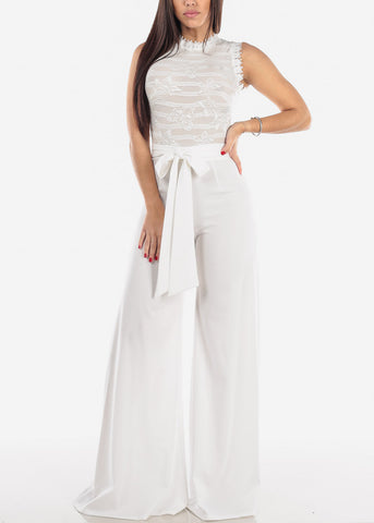 White Crochet Lace Jumpsuit