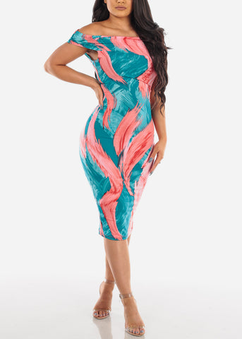Women's Junior Ladies Cute Dressy Super Stylish Off Shoulder Multi Color Abstract Print Tight Fit Bodycon Midi Dress