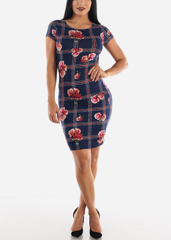 Image of Navy Floral Dress