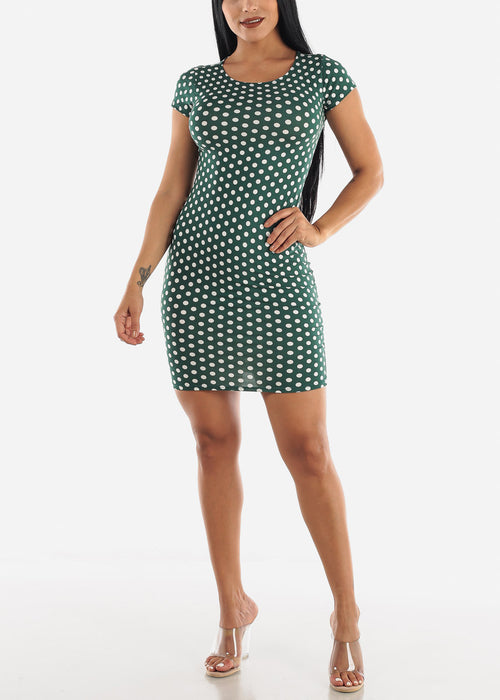Green & White Polka Dot Dress