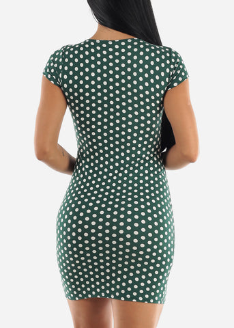 Image of Green & White Polka Dot Dress