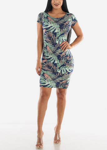 Image of Blue & Green Printed Dress