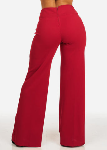 Evening Wear Red High Waisted Pants